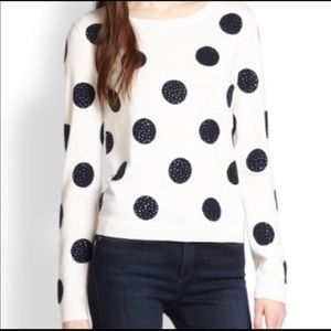 Alice + Olivia blue polka dot sweater